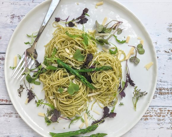 Angel Hair wth Asparagus Pesto