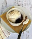 Double-Chocolate Pudding in bowl with spoon