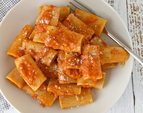 bowl of Pasta with Vodka Sauce with fork