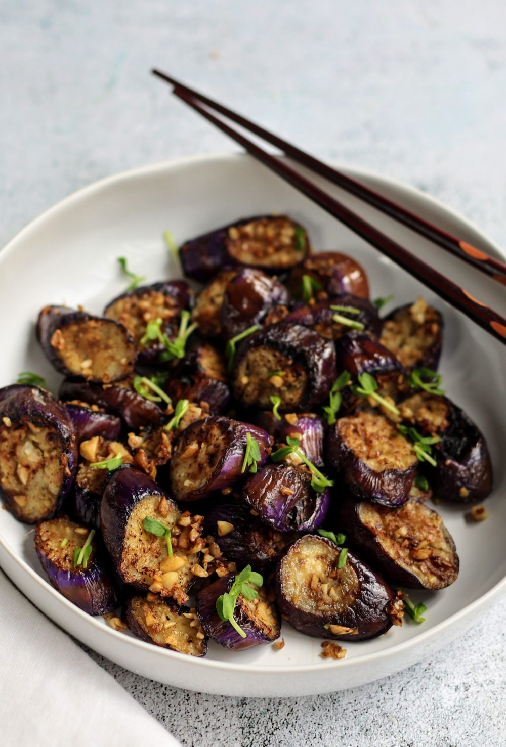 Stir-fried Japanese Eggplant with Garlic and Ginger