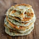 a stack of skillet herb flatbreads
