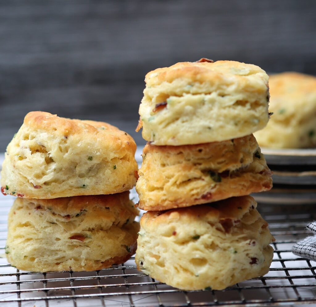 Pile of Buttermilk Biscuits with Bacon and Chives