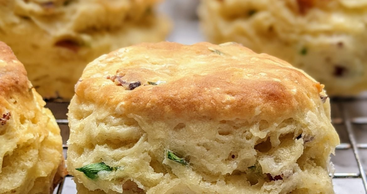 close-up of chive and bacon biscuit