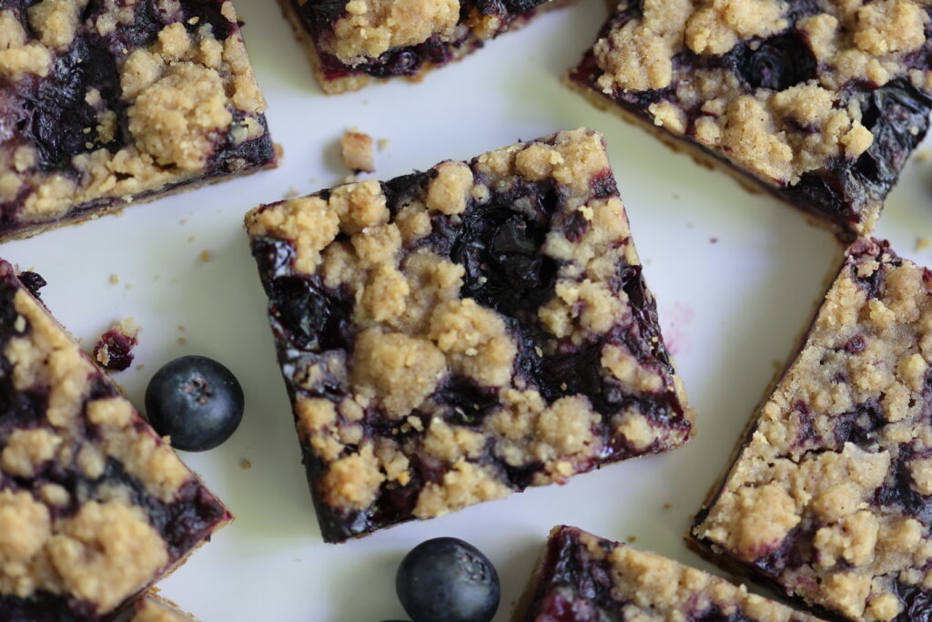 Plate of Blueberry Crumble Pie Barss
