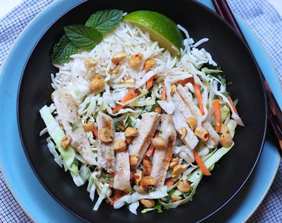 Bowl of Vietnamese Chicken Salad with chopsticks