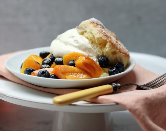 Plate of Peach and Blueberry Shortcakes