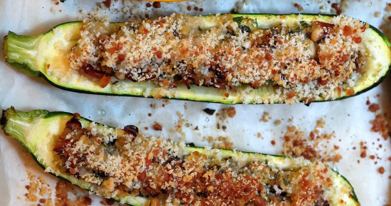 baking sheet with stuffed pancetta-parmesan zucchini
