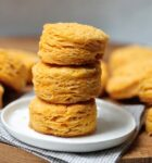 stack of three fluffy sweet potato biscuits