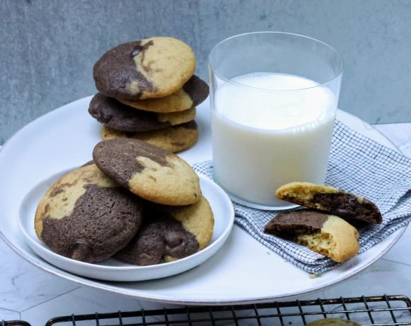 Plate with Vanilla Nut and Double Chocolate Chip Cookies with glass of milk